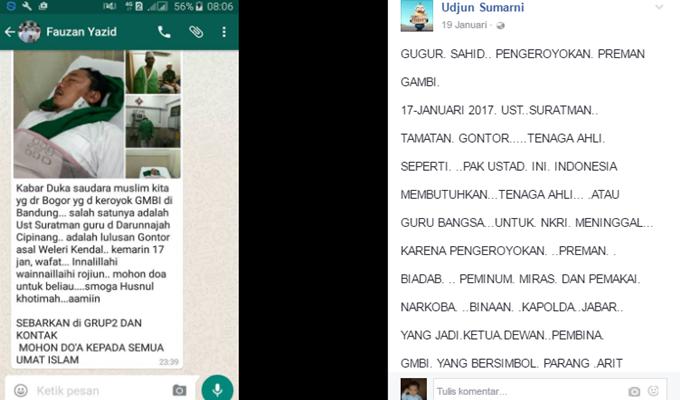 Hoax! Orang Meninggal Dijadikan Bahan Provokasi FPI vs GMBI, Ini Klarifikasi Soal Wafatnya Suratman